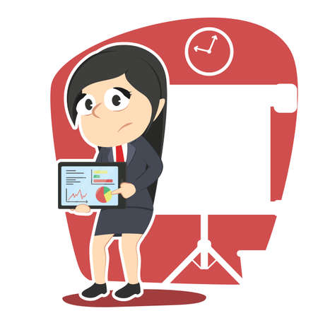 woman tablet: Business woman with bad result presentation tablet. Illustration