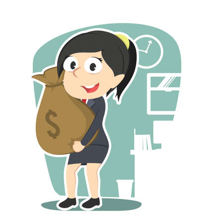 Business woman holding money sack.