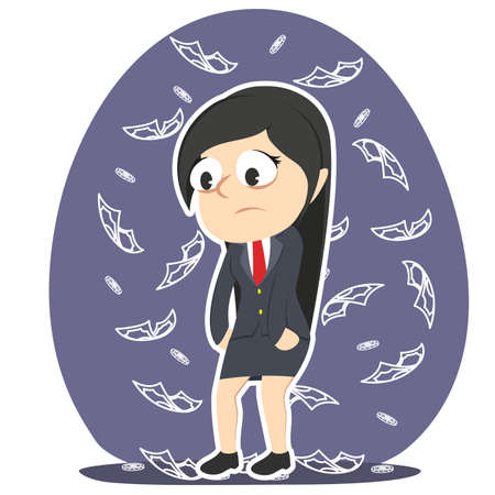A tired businesswoman dont care about money. Illustration