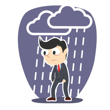 Tired businessman with raining cloud. Vettoriali