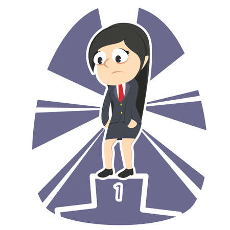 tired businesswoman dont care about be the champion Illustration