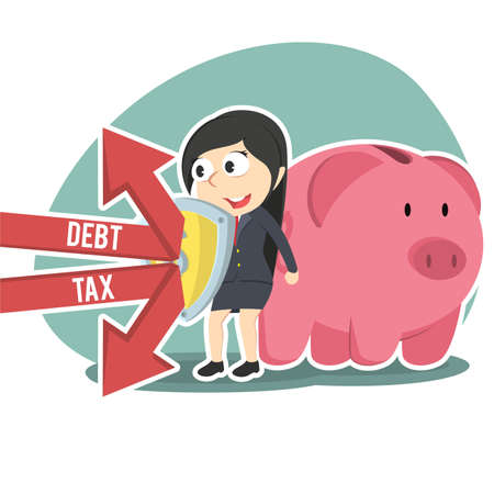 businesswoman protecting piggy bank form debt and tax