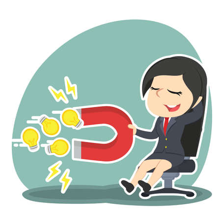 businesswoman relaxing using magnet to attract ideas Vektorové ilustrace