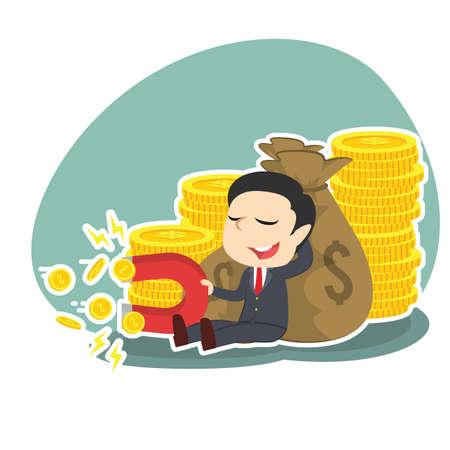 magnetismo: businessman beside money sack holding coin magnet Vettoriali