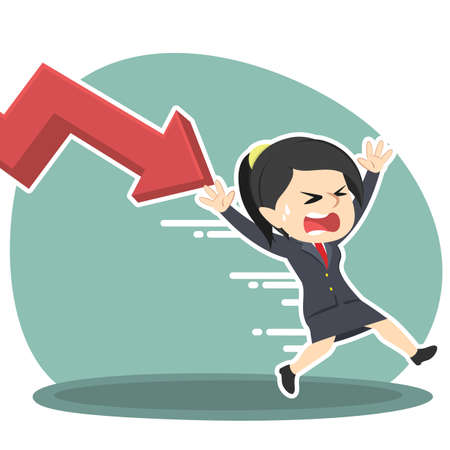businesswoman being chased by down graph Illustration