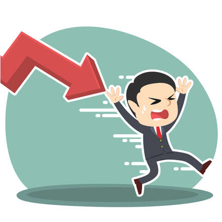 businessman being chased by down graph
