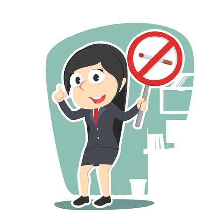 smoking woman: businesswoman holding no smoking sign Illustration