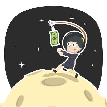 businesswoman is chasing money on moon 向量圖像