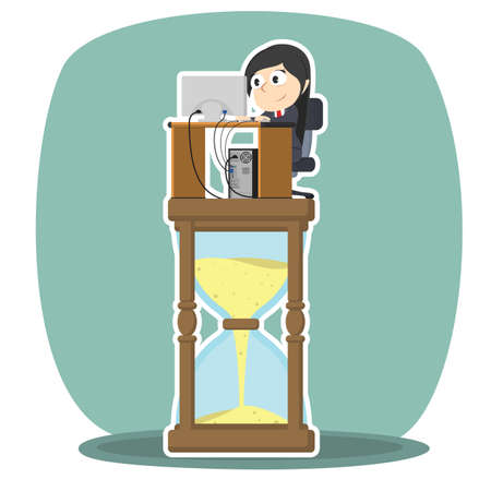 businesswoman is working on hourglass