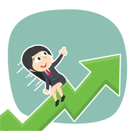 businesswoman is riding on raised graph