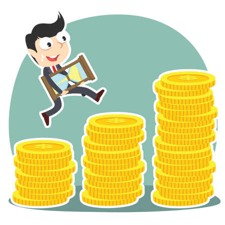 businessman is climbing coin stairs carrying hourglass