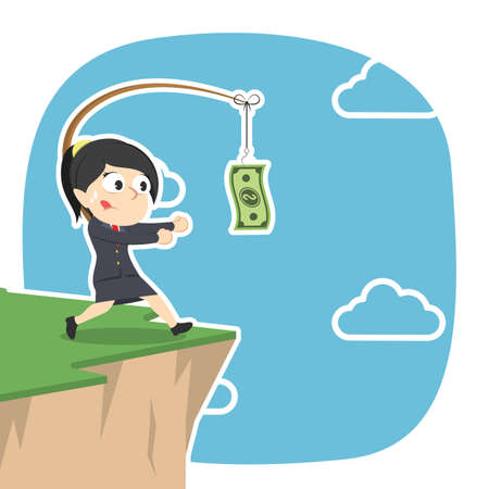 Geschäftsfrau jagt Geld auf Klippe Standard-Bild - 90074384