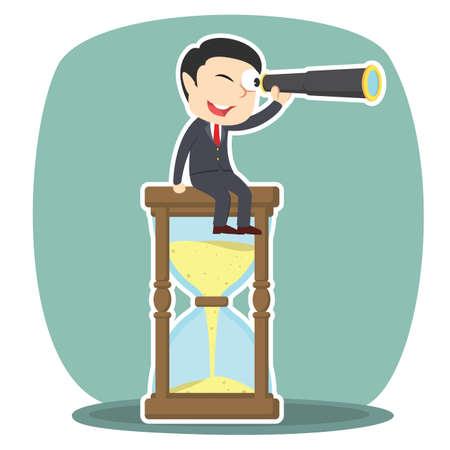 businessman is using binocular on a hourglass Illustration