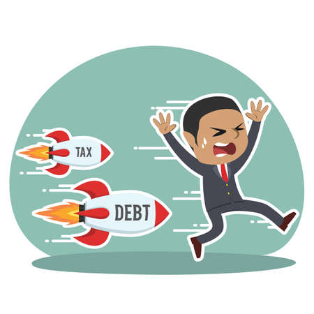 african businessman being chased by tax debt rocket Illustration