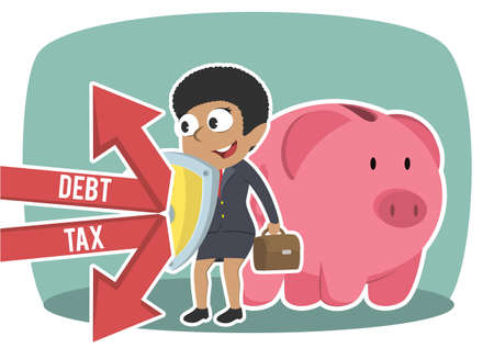 african businesswoman protecting piggy bank form debt and tax