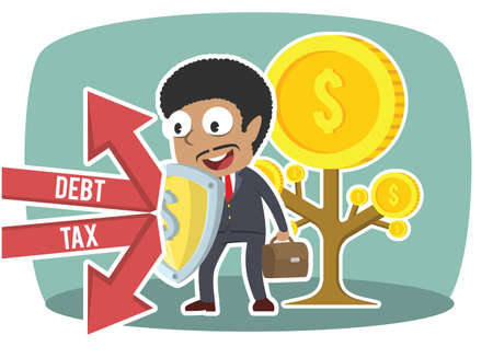 african businessman protecting coin tree form debt and tax