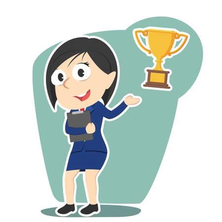 businesswoman presenting trophy