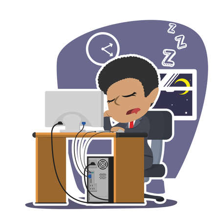 african businesswoman fall asleep while working Illustration