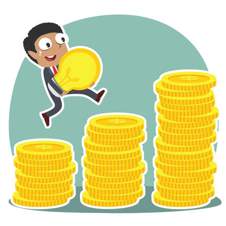 african businessman climbing coin stairs while carrying idea Illustration