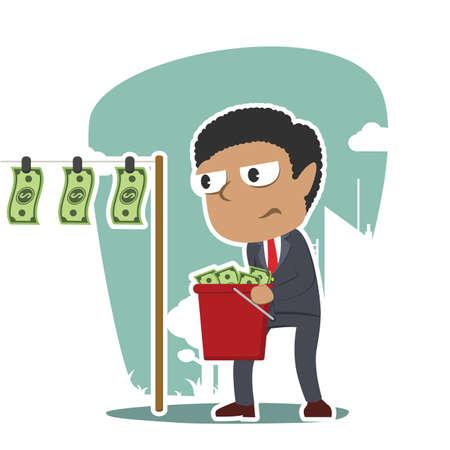 african businessman drying money Illustration