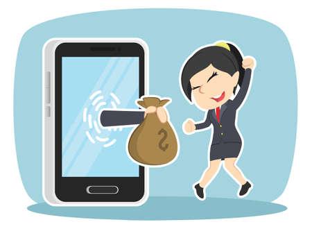 businesswoman happy got money from smartphone