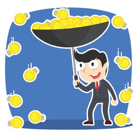 L'idea di riunione dell'uomo d'affari con l'ombrello in idea piove.