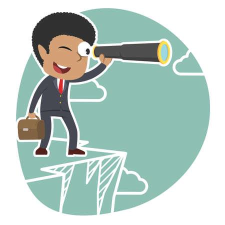 Afrikanischer Geschäftsmann, der durch monokulares auf Klippe schaut Standard-Bild - 93257253
