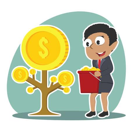 Afrikanische Geschäftsfrau , die Münze Baum erntet Standard-Bild - 93256957