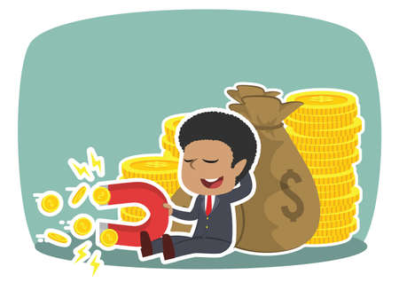 African businessman beside money sack holding coin magnet Ilustrace