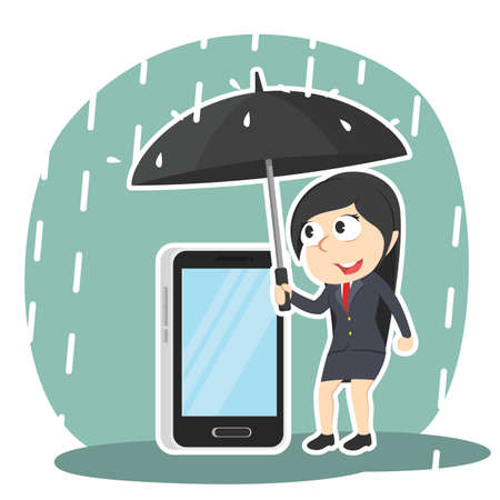 Businesswoman protecting her phone with umbrella Vettoriali