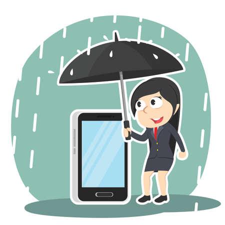 Geschäftsfrau, die ihr Telefon mit Regenschirm schützt Standard-Bild - 93256841