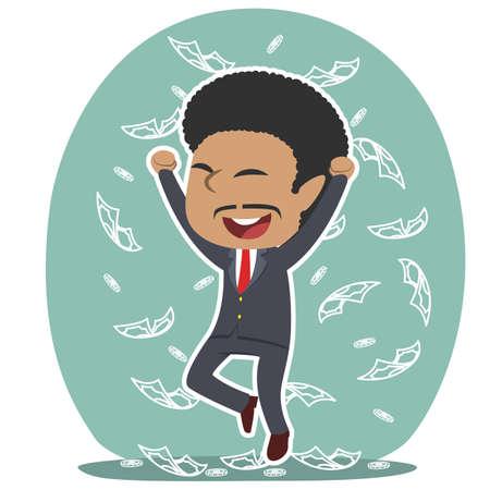 African businessman raining money