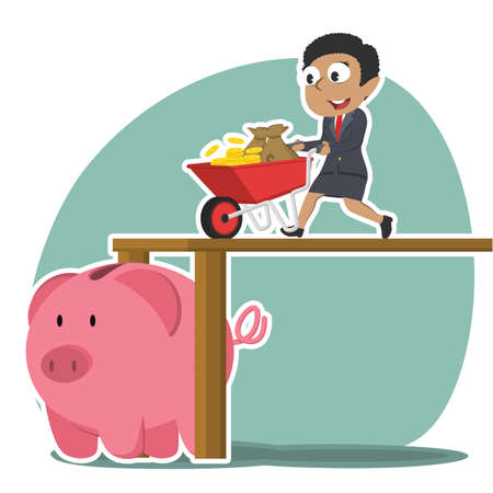 African businesswoman pushing wheelbarrow money into piggy bank