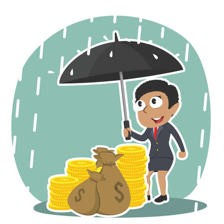 African businesswoman protecting his money with umbrella Ilustrace