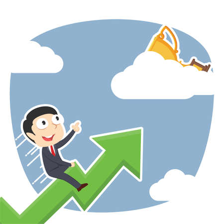 Businessman riding graph to trophy on clouds. Ilustrace