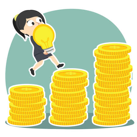 Businesswoman climbing coin stairs while carrying idea