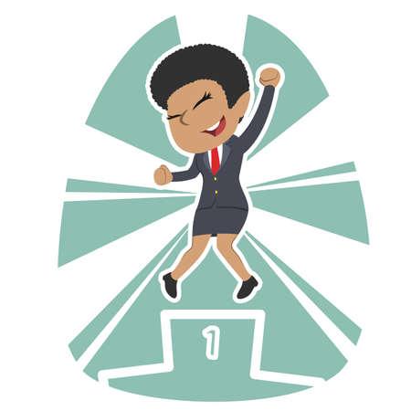 African businesswoman champion vector illustration. Ilustrace