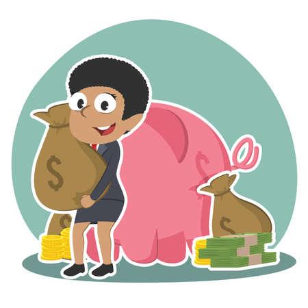 African businesswoman holding money sack behind piggy bank