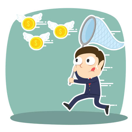 Businessman trying to catch flying coins Ilustrace