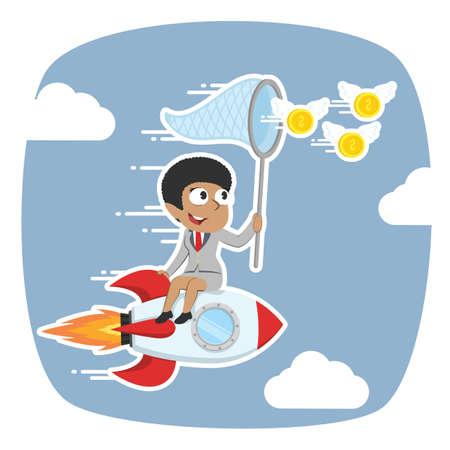 Afrikanische Geschäftsfrau auf Rakete jagen fliegende Münzen Standard-Bild - 93257912