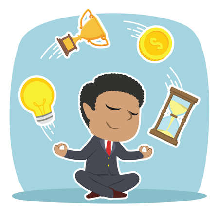 African businessman meditating making things fly Ilustrace