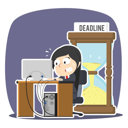 Businesswoman working in panic with deadline hourglass