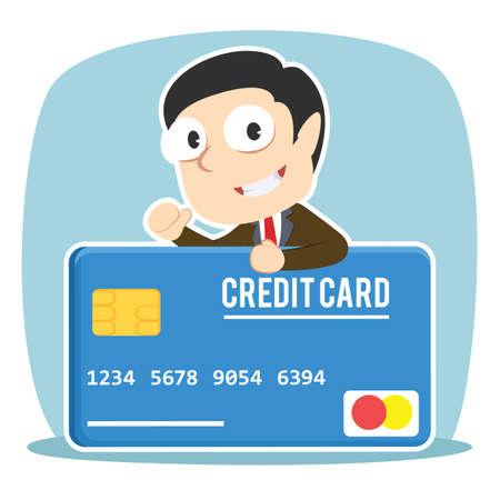 Businessman with big credit card Ilustrace