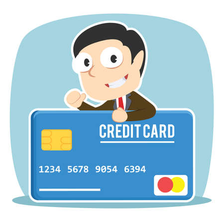 Businessman with big credit card Vettoriali