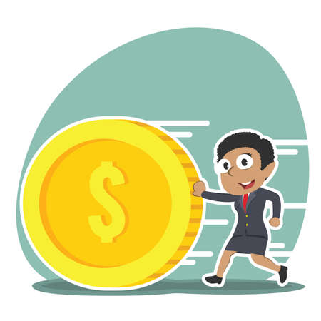 African businesswoman pushing coin illustration. Vettoriali