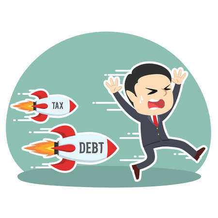 Businessman being chased by tax debt rocket illustration.