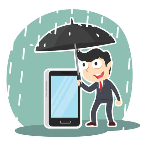 Businessman protecting his phone with umbrella illustration.