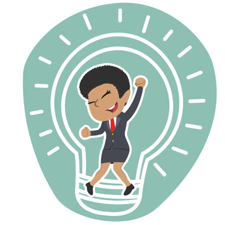 Afrikanische Geschäftsfrau in der Birne Standard-Bild - 93257582