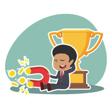 African businessman beside trophy holding coin magnet Ilustrace