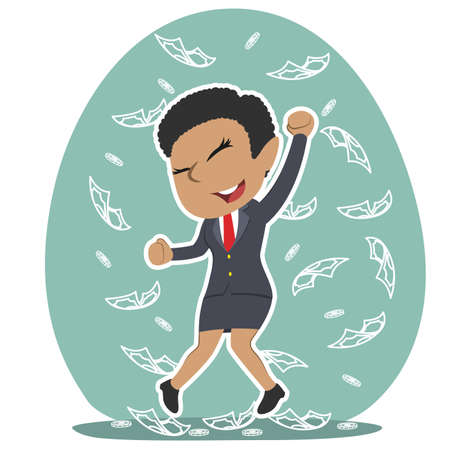African businesswoman raining money